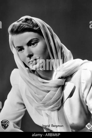 Bergman, Ingrid, 29.8.1915 - 29.8.1982, Swedish actress, half length, 1940s, Additional-Rights-Clearances-NA - Stock Photo