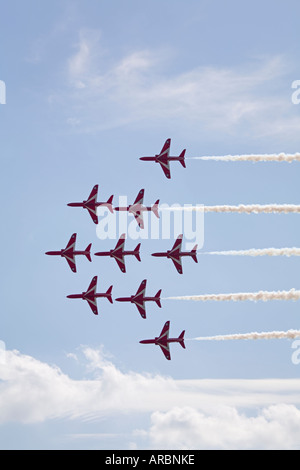 Red Arrows Royal Air Force Aerobatic Team in close formation during their 4000th display at RAF Leuchars, Fife, - Stock Photo