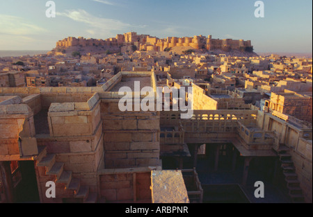 View of Jaisalmer Fort, which has 99 bastions around its circumference, Jaisalmer, Rajasthan, India - Stock Photo