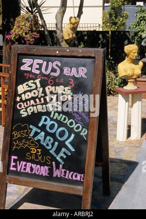 blackboard outside a bar in Alikes Zakinthos Island Greece - Stock Photo