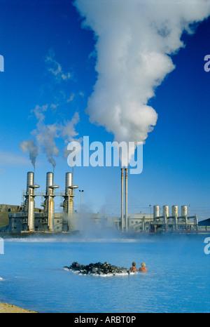 Geo thermal power plant in Svartsengi (Black Field) area, Iceland - Stock Photo