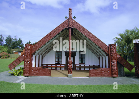 Maori marae, just over the river from the city of Wanganui on the south west coast, Wellington, North Island, New - Stock Photo