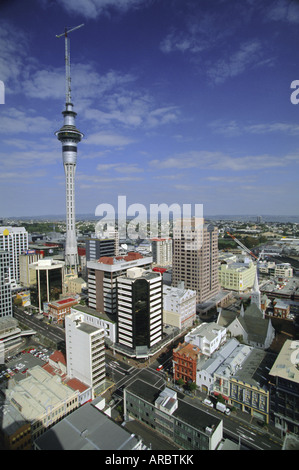 Albert Street and Wyndham Street with Sky City Tower on city skyline, Central Auckland, North Island, New Zealand - Stock Photo