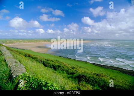 Looking south along Saunton Sands and Braunton Burrows near Barnstaple, North Devon, England, UK - Stock Photo