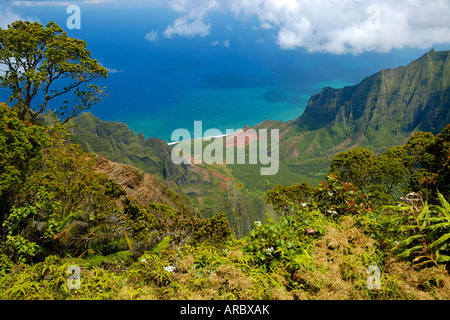 The steep green canyons wiht tropical vegetation at the Napali Costs on top of the Weimea Canyon State Park on Kauai - Stock Photo
