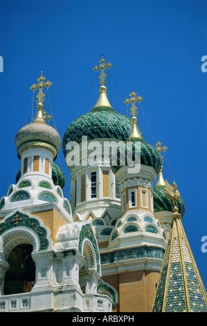 Russian church, Nice, Alpes-Maritimes, Provence, France, Europe - Stock Photo