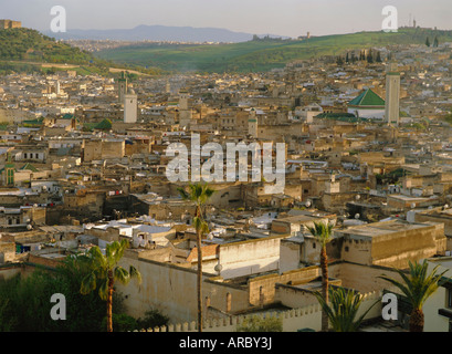 View from Hotel Palais Jamai over Fes el Bali, Fes (Fez), Morocco, North Africa, Africa - Stock Photo