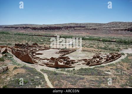Pueblo Bonito  from 1000-1100 AD, Anasazi site, Chaco Canyon National Monument, New Mexico, USA (U.S.A.), North - Stock Photo