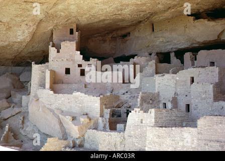 Cliff palace ruins, Mesa Verde, Mesa Verde National Park, Colorado, USA (U.S.A.) - Stock Photo