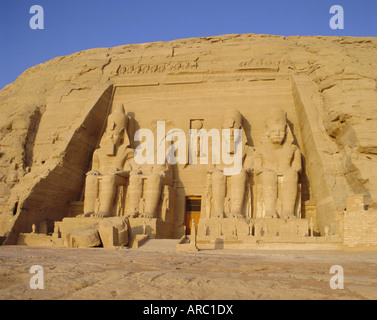 Rock cut Temple of Ramesses II (Rameses the Great) (Ramses the Great), Abu Simbel, Nubia, Egypt, North Africa - Stock Photo
