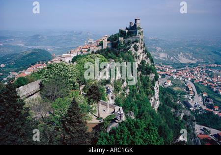 Castle atop mountain peak, San Marino Republic - Stock Photo