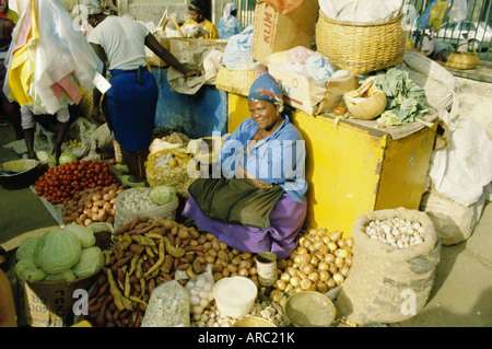 Woman selling vegetables in the city market, Praia, Santiago Island, Cape Verde Islands, Africa - Stock Photo