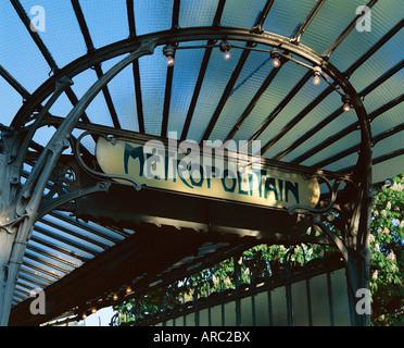 Close-up of Metropolitain (metro) station entrance, art nouveau style, Paris, France, Europe - Stock Photo