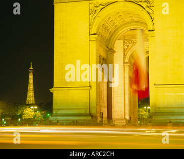 Arc de Triomphe and Eiffel Tower at night, Paris, France, Europe - Stock Photo