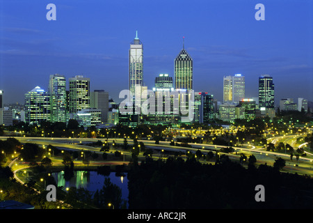 City skyline and Swan River from Kings Park in the evening, Perth, Western Australia, Australia, Pacific - Stock Photo
