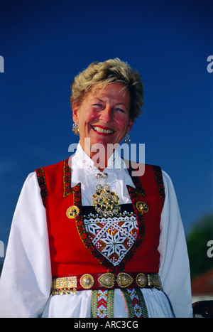 Portrait of a woman in national dress on Norwegian National Day (17th May), Oslo, Norway, Scandinavia, Europe - Stock Photo