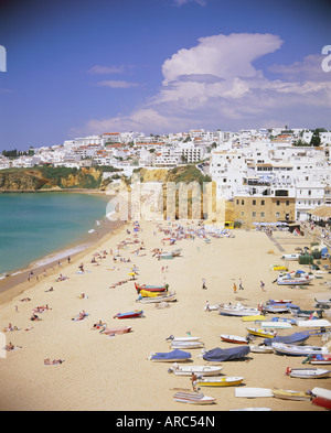 Beach and town, Albufeira, Algarve, Portugal, Europe - Stock Photo