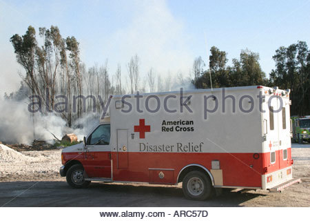 Miami Florida Dade County Everglades dry season smoke trees American Red Cross Disaster Relief Vehicle - Stock Photo