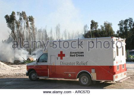 Miami Florida Dade County Everglades dry season smoke trees American Red Cross Disaster Relief Vehicle - Stock Photo