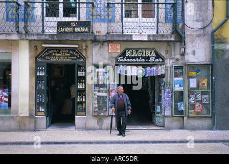 Typical shop fronts in the city centre, Lisbon, Portugal, Europe - Stock Photo