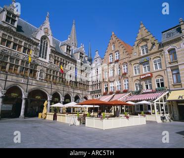 Main Town Square, Ypres, Belgium, Europe - Stock Photo