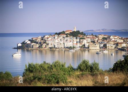 Primosten, a medieval town on a peninsula near Sibenik, Central Dalmatia, Dalmatian coast, Croatia, Europe - Stock Photo