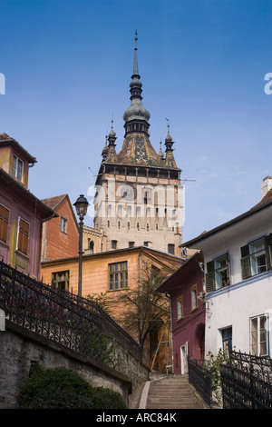 Clock tower, in the medieval old town or citadel, Sighisoara, Transylvania, Romania - Stock Photo