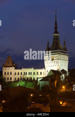 Clock tower in the medieval old town or citadel, Sighisoara, Transylvania, Romania - Stock Photo