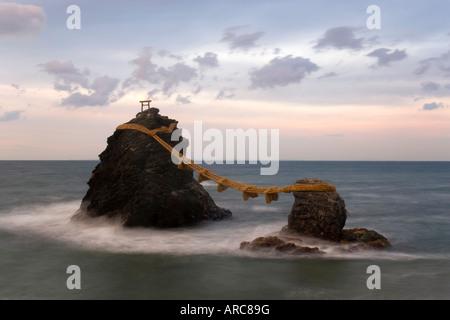 Meoto-Iwa (Wedded Rocks), Futami, Ise-Shima, Chubu, Central Honshu, Japan - Stock Photo
