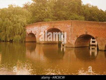 The 18th century Sonning Bridge over the River Thames near Reading, Berkshire, England, UK - Stock Photo