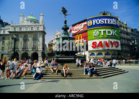 Statue of Eros and Piccadilly Circus, London, England, UK - Stock Photo