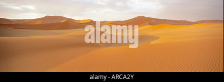 Sand dunes and dune sea, Sossusvlei, Namib Naukluft Park, Namibia - Stock Photo