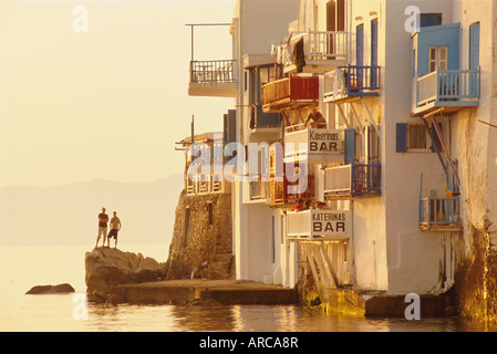 Little Venice in the Alefkandra district of Mykonos Town,  Mykonos, Cyclades Islands, Greece, Europe - Stock Photo