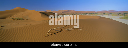 Panoramic view over dunes, Sossusvlei, Namib Naukluft Park, Namib Desert, Namibia, Africa - Stock Photo