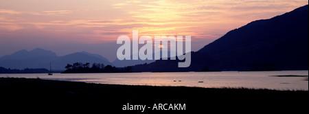 Sunset, Loch Levan, Glencoe village, Western Highlands, Scotland, United Kingdom, Europe - Stock Photo