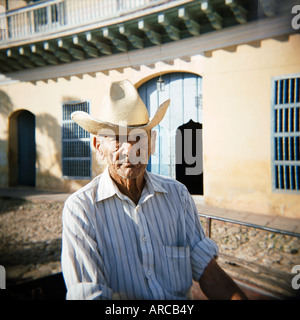 Portrait of an elderly cowboy, Trinidad, Cuba, West Indies, Central America - Stock Photo