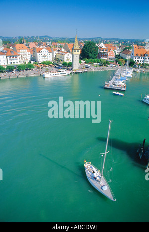 Birds eye view of the harbour on Lake Constance, from top of lighthouse, Lindau, Bavaria, Germany, Europe - Stock Photo