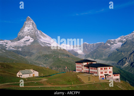 Riffelberg and Matterhorn, Valais, Switzerland, Europe - Stock Photo