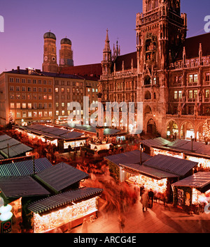 Munich View of the Christkindlmarkt at the Marienplatz infront of the Neues Rathaus - Stock Photo
