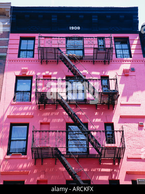 Pink facade and stairs in Soho, New York, New York State, USA, North America - Stock Photo