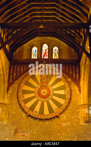 King Arthur's Round Table hanging in the Great Hall, Winchester, England, UK - Stock Photo