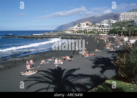 Beach, Playa de la Arena, Tenerife, Canary Islands, Spain, Atlantic, Europe - Stock Photo