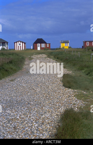 Beach huts, Aeroskobing, island of Aero, Denmark, Scandinavia, Europe - Stock Photo
