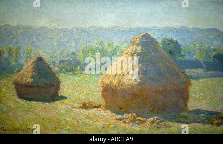 Haystacks Meules l Ete by  Claude Monet 1840 – 1926 France French - Stock Photo