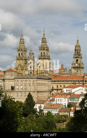 Santiago Cathedral with the Palace of Raxoi in foreground, UNESCO World Heritage Site, Santiago de Compostela, Galicia, - Stock Photo