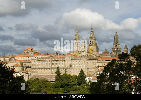 Santiago Cathedral with the Palace of Raxoi in foreground, Santiago de Compostela, Galicia, Spain, Europe - Stock Photo