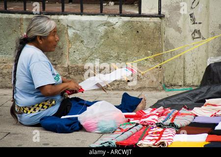 Weaving on street, Oaxaca City, Oaxaca, Mexico, North America - Stock Photo