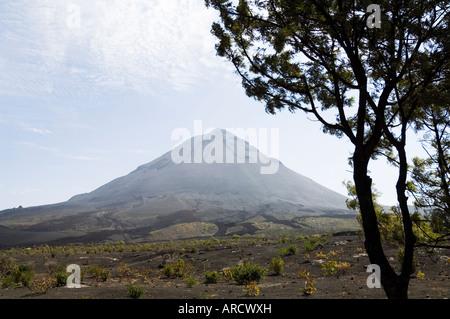 View from the caldera of the volcano of Pico de Fogo, Fogo (Fire), Cape Verde Islands, Africa - Stock Photo