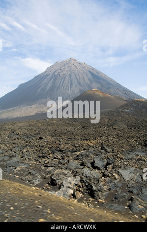 The volcano of Pico de Fogo in the background, Fogo (Fire), Cape Verde Islands, Africa - Stock Photo