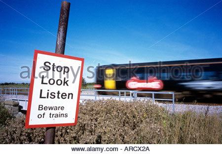 Footpath railway crossing, in North Somerset, UK. - Stock Photo